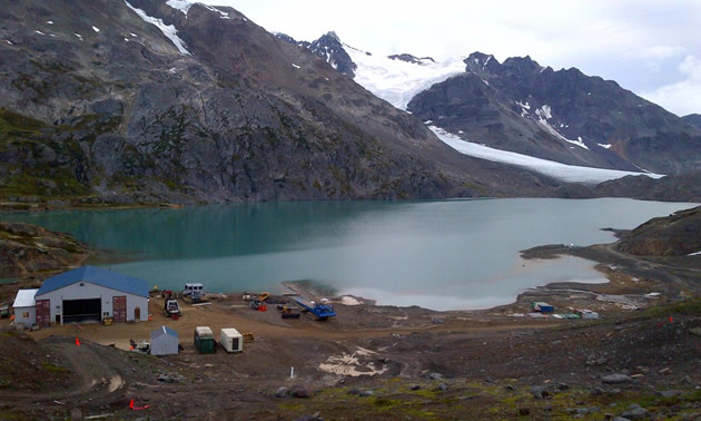 Veolia's Actiflo water treatment technology was the perfect fit for Pretivm's Brucejack Gold Mine. Pictured here is the mine site amidst mountains and a lake.