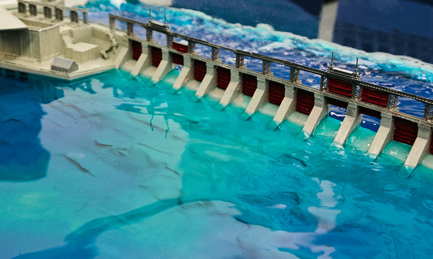 A 3-D print of the dam