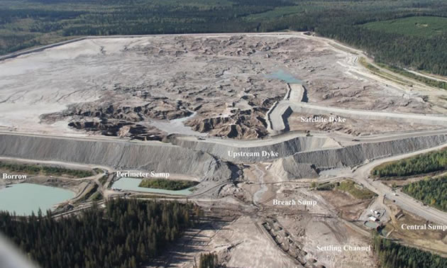 Aerial view of the Mount Polley Mine tailings pond collapse.