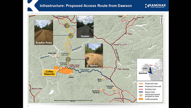 Graphic of the proposed route from Dawson City to the Coffee Gold Project in the Yukon Territory.
