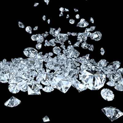 A display of diamonds mined from the Gahcho Kue diamond  mine in Canada's Northwest Territories.
