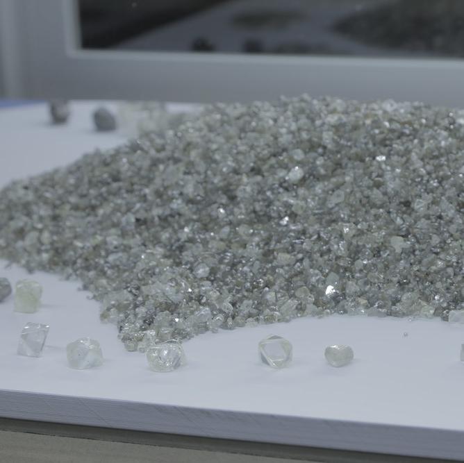 a pile of diamonds on display