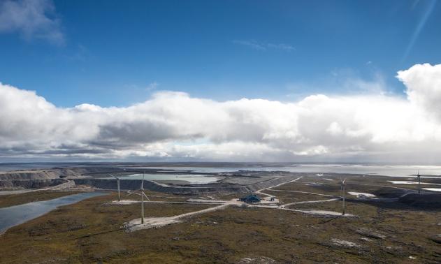 A birds eye view of Diavik's four-turbine wind farm.