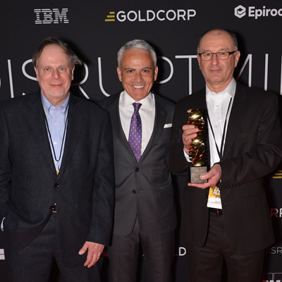 Celebrating at last year's challenge are (L to R): Jacques Yves Guigné, CEO of Acoustic Zoom; David Garofalo, CEO of Goldcorp; and Gary Dinn, vice-president marketing at Acoustic Zoom.