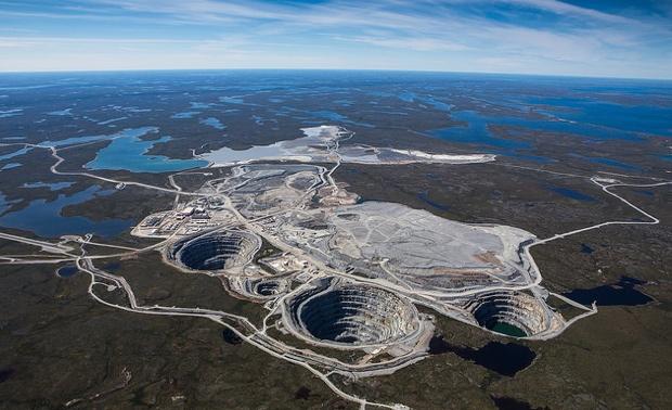 Aerial photo of Ekati diamond mine.