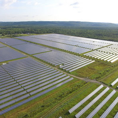 Overhead view of recently acquired solar farms.