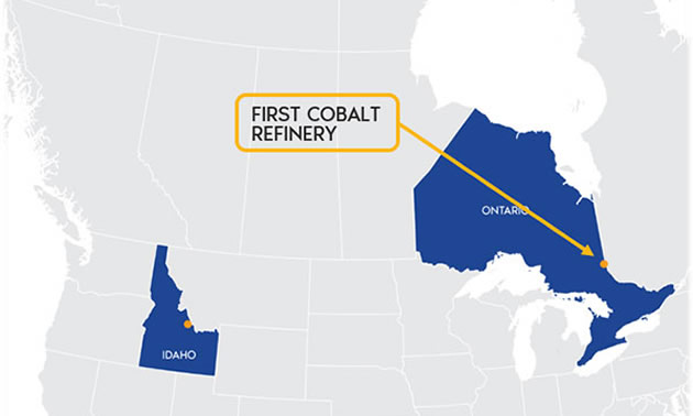 Map of Canada showing where refinery is located - on border between Ontario and Quebec, 600km north of Canada-U.S. border.