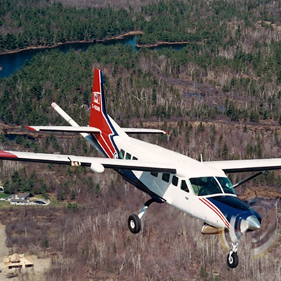 Picture of Cessna conducting aerial geophysical survey.