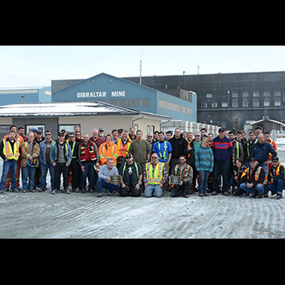 Mine crew celebrates safety at the Gibraltar Mine in this Taseko file photo