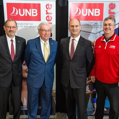 From Left to Right: Dr. Bob Quartermain Campaign Co-Chair, Dr. Mac Watson Campaign Cabinet Member, Jeff Hussey Osisko Metals and UNB Alumnus, President & CEO and UNB President and Vice-Chancellor Eddy Campbell