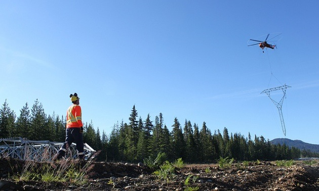 The NTL required extensive use of helicopters to erect towers on the line's rugged terrain.