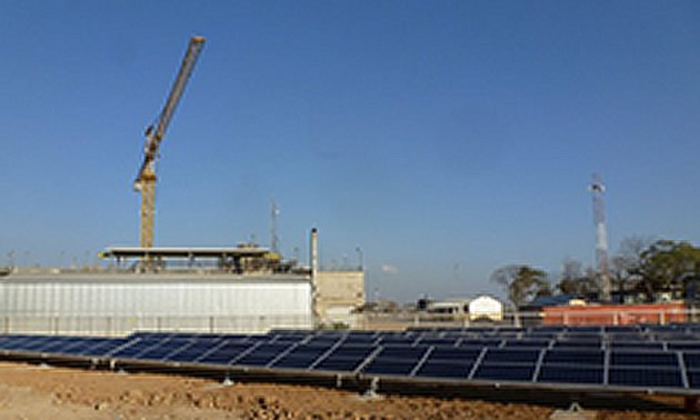 Hybrid plant in western Tanzania during construction