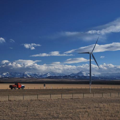 Wind turbine at the Old Man 1 wind farm.