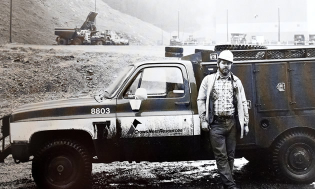 John Kinnear leans against his work truck in 1984. He worked as a draftsman and surveyor at Teck's Line Creek Mine for 31 years.