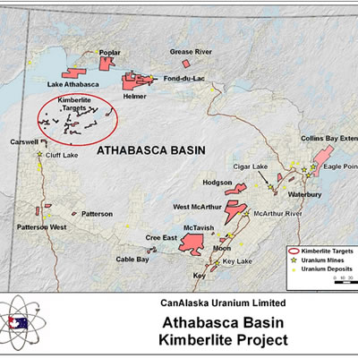 Map of the Athabasca Kimberlite project.