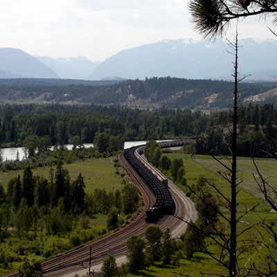 Picture of CP Rail coal train travelling through the Kootenays.