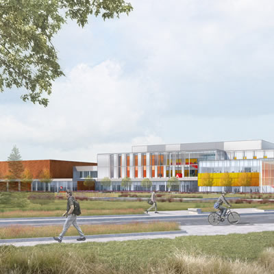 Rendering of the future site of Magna Hall, the newest addition to Seneca's King Campus, designed by EllisDon.