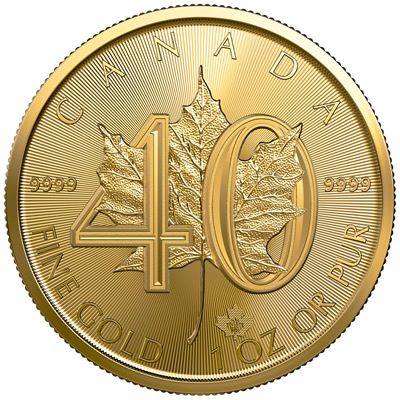 The Royal Canadian Mint's 40th Anniversary of the Gold Maple Leaf bullion coin.