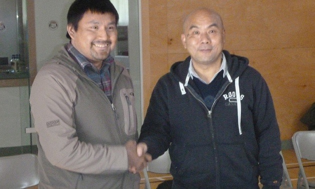 Chief Mike Matou and CEO Richard Li following signing of Co-operation Agreement in Nahanni Butte, NWT.