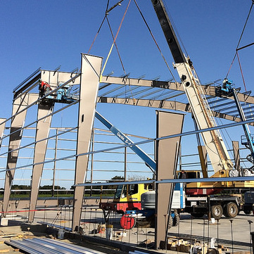 An example of a metal steel buildings under construction