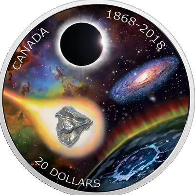 An out-of-this-world $20 silver coin, created by the Royal Canadian Mint in celebration of the 150th annivesary of the Royal Astronomical Society.