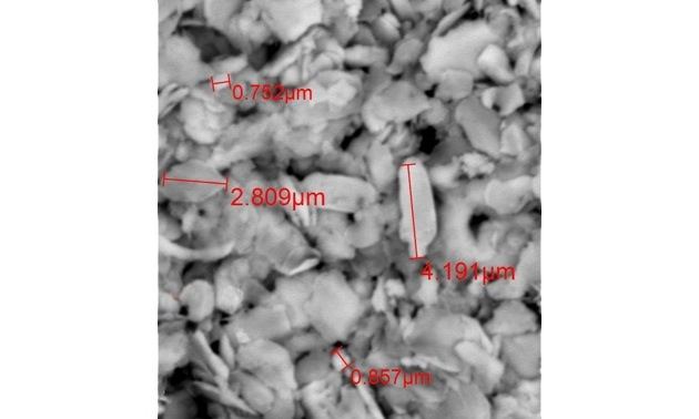 Trapped particles ranging in size down to below 1 micron.