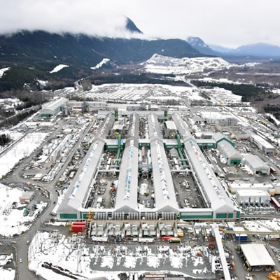 Picture of Rio Tinto Aluminum Smelter in Kitimat, B.C.
