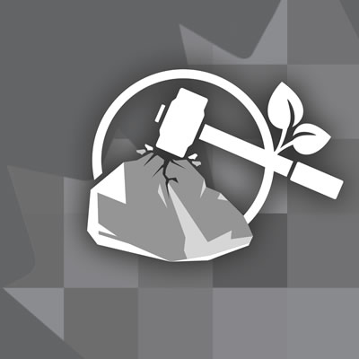 Crush It! Challenge logo, showing grey background with rock and hammer graphic.