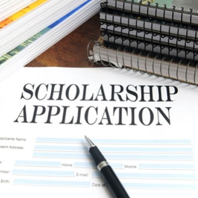 Picture of scholarship application.