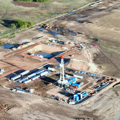 Picture of K+S Legacy construction site with drilling rig in Saskatchewan.