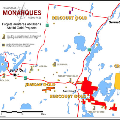 Map of Monarques Gold properties.
