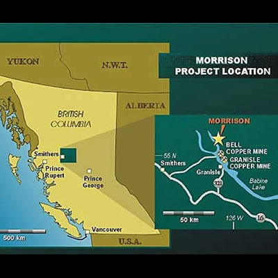 Map of the proposed location of the Morrison Mine in B.C.