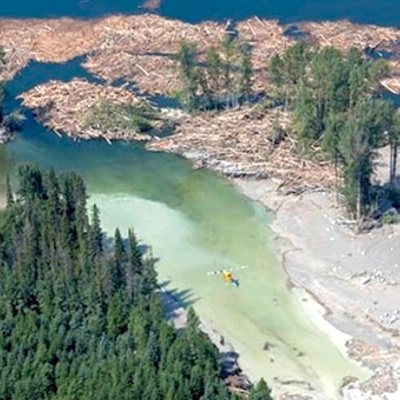 Aerial view of the Mount Polley Mine tailing disaster.