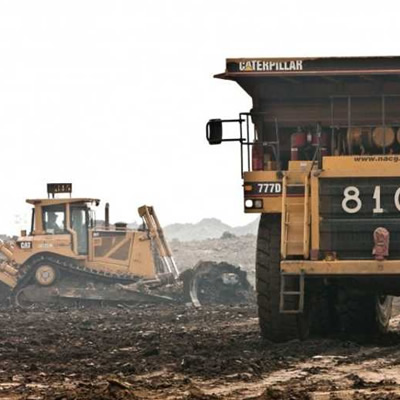 Picture of heavy equipment at mining site.