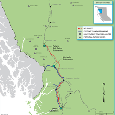 Map showing where the Northwest Transmission line is in British Columbia