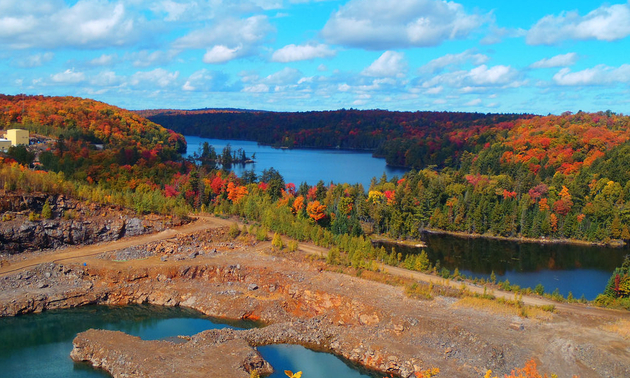 The Kearney Mine in Ontario is shown on a sunny fall day.