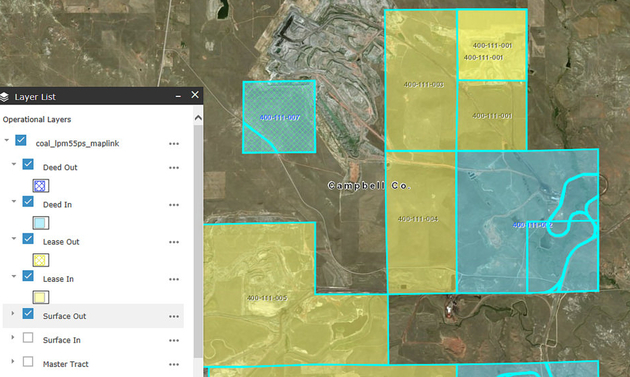 An image of a GIS map showing land asset details