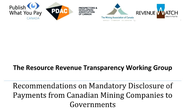 On June 14, 2013, the Revenue Resource Transparency Working Group released its draft recommendations on implementing mandatory reporting standards for Canadian mining companies.