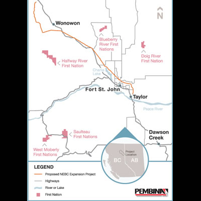 Map of Pembina Pipeline expansion project.