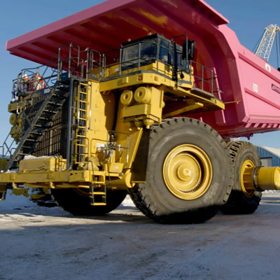 Mining truck with box painted pink.