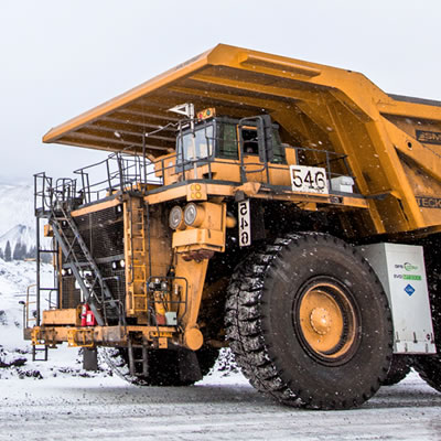 One of Teck Resources' new LNG conversion coal haul trucks being tested in the Elk Valley.