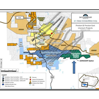 Area map of the Preston and Preston East Uranium projects.