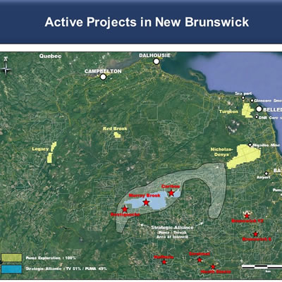 Graphic map of active projects in New Brunswick by Puma Exploration.