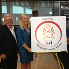 Unveiling of the RoFATA logo and public announcement of $5.9 million in funding at Confederation College. From l to r: Don Bernosky, vice president, regional workforce development, Confederation College; Leanne Hall, vice president human resources at Noront Resources Ltd. and Morris Wapoose, program administrator/coordinator at KKETS.