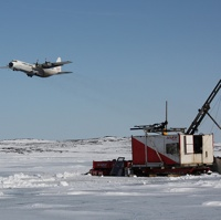 Departing flight over drill rig at the Back River gold project in Nunavut.