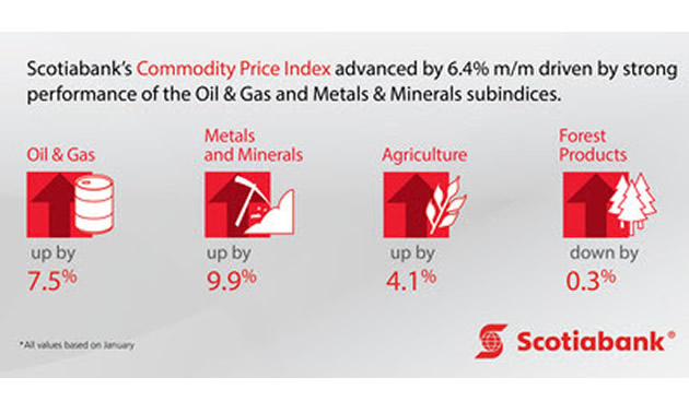 Graphic from Scotiabank, showing the prices of industrial commodities.