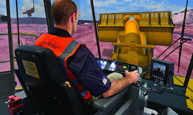 The ThoroughTec Cybermine simulator for a CAT 992G wheel loader is pictured here.