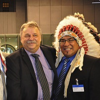 Stan Szary with Onion Lake First Nation Chief Wallace Fox (l) and Yellowquill Chief Larry Cachene (r.)