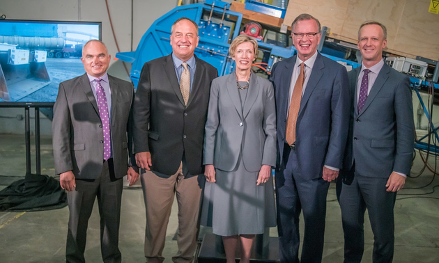 At the BC Emerging Economy Task Force launch event (L to R): Jeff More, president & CEO, MineSense Technologies, Andrew J. Weaver, MLA and leader of the Green Party of B.C, Kathy Kinloch, president of the BC Institute of Technology (BCIT) and chair of the Emergent Economy Task Force, Bruce Ralston, minister of Jobs Trade and Technology, B.C and Rick Glumac, parliamentary secretary for Technology.