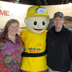 Photo of Kirstin Clausen, Buddy the Miner and Gavin C. Dirom